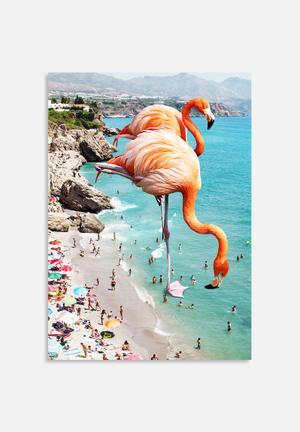 83 Oranges Flamingos On The Beach Art
