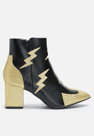 Daisy Street Lightning Boot Black & Gold Glitter
