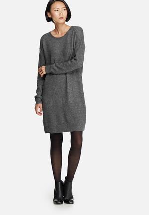 Pieces Fillac Long Wool Knit Knitwear Dark Grey