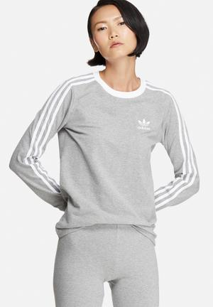Adidas Originals 3-Stripe Longsleeve Tee T-Shirts Grey & White