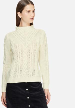 Jacqueline De Yong Trudy High Neck Sweater Knitwear Cream