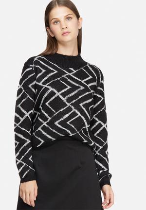 Jacqueline De Yong Alabama Pattern Sweater Knitwear Black & White