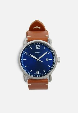 Fossil Commuter Watches Blue, Silver & Tan