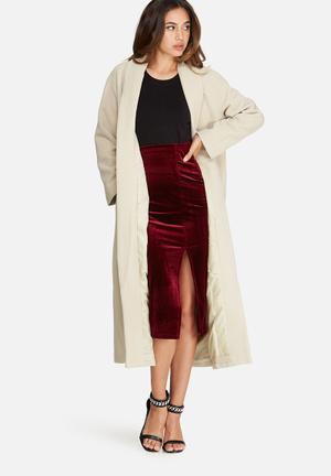 Shawl collar faux wool maxi coat
