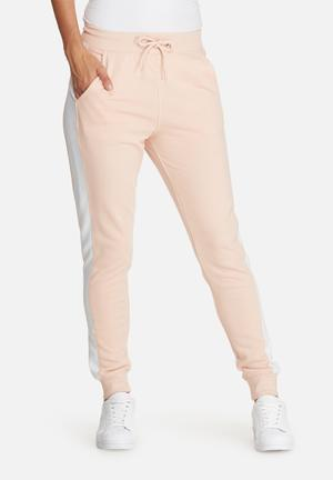 Striped contrast elastic side joggers
