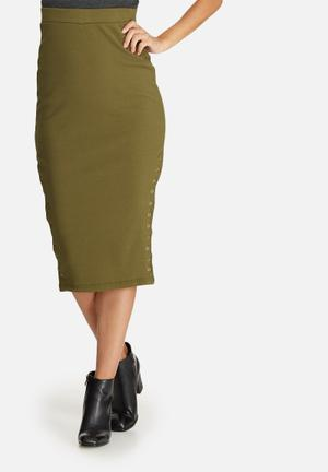 Double popper ribbed midi skirt