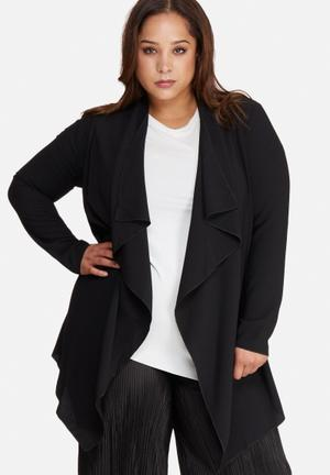 Missguided Plus Size Waterfall Crepe Jacket Black