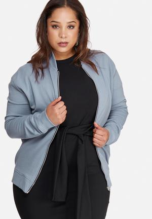 Missguided Plus Size Jersey Bomber Jacket Blue
