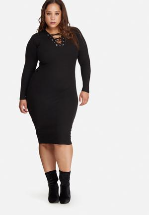 Missguided Plus Size Ribbed Lace Up Midi Dress Black