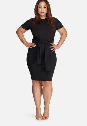 Missguided Plus Size Tie Waist T Shirt Dress Black