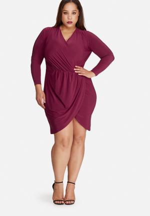 Missguided Plus Size Slinky Wrap Dress Burgundy