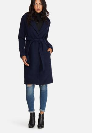 Belted tailored faux wool coat