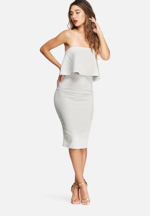 Missguided Frill Bandeau Midi Dress Occasion Grey