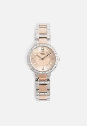 Fossil Virginia Watches Silver & Rose Gold