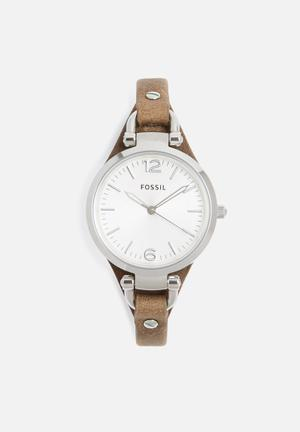 Fossil Georgia Watches Brown & Silver