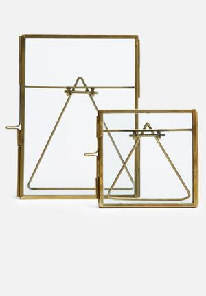 Sixth Floor Paloma Frame Set Of 2 Accessories Brass & Glass