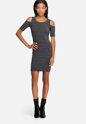 ONLY Roma Lurex Dress Formal Black & Silver