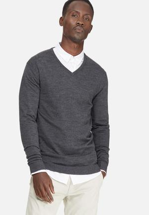 Selected Homme Tower Merino V-neck Knitwear Grey