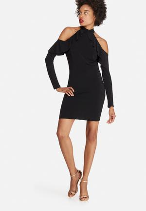 Dailyfriday Cold Shoulder Frill Bodycon Dress Occasion Black