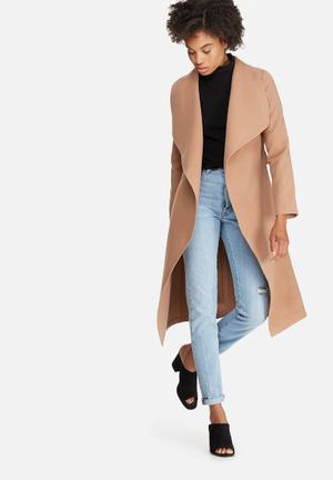 Melton wrap coat