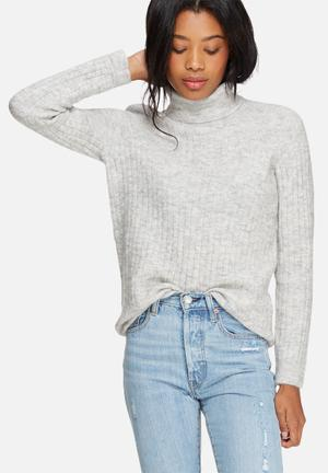 Pieces Fran Wool Roll Neck Knit Knitwear Grey Melange