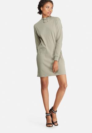 Eyelet neck detail rib sweat dress