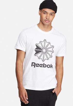 Reebok Classic Starcrest Tee T-Shirts White, Black & Grey