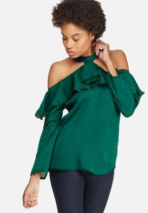 Dailyfriday Cold Shoulder Frill Blouse Green