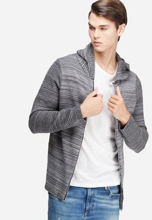 Basicthread Zip Through Knit Hoodie Knitwear Grey