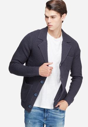 Only & Sons Casimir Knitted Blazer Jackets & Coats Dark Navy