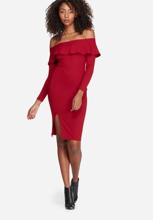 Missguided Bardot Frill Split Midi Dress Occasion Red