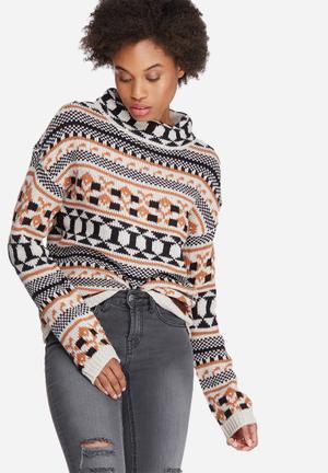 Vero Moda Lian Cropped Knit Knitwear Cream, Black & Mustard
