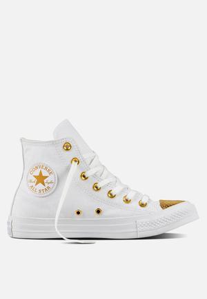Converse Chuck Taylor All Star HI Metallic Toecap Sneakers White/Gold