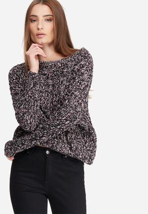 Noisy May Fab Knit Knitwear Black, Pink And White