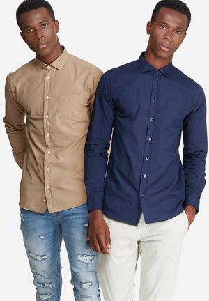 2-Pack plain long sleeve poplin shirt