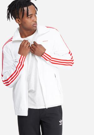 Adidas Originals 70's Track Top Hoodies & Sweatshirts White & Red