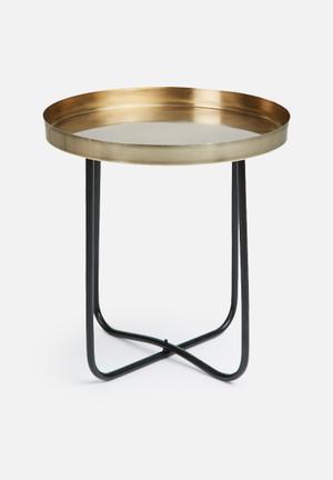Sixth Floor Black & Gold Side Table Mild Steel