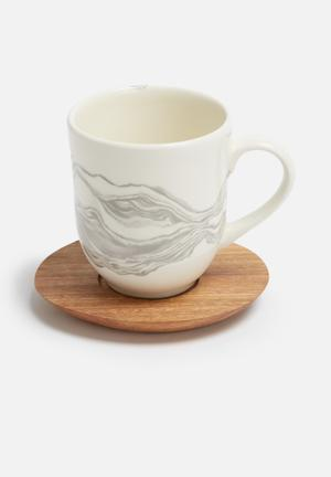Love Milo Mineral Mug With Saucer Porcelain & Hand Carved Wood