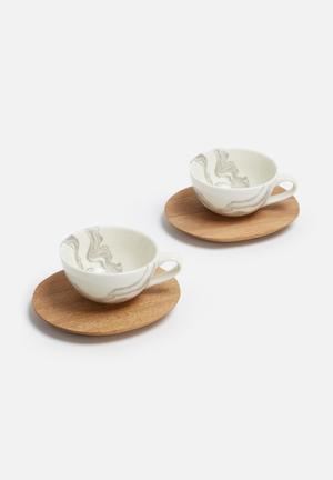 Love Milo Espresso Cup Set Of 2 Drinkware & Mugs Porcelain & Wood