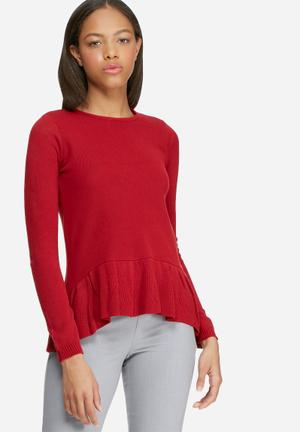 Dailyfriday Dipped Peplum Knitted Sweater Knitwear Red
