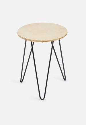 Sixth Floor Hairpin Table Pine Ply & Metal Hairpin Legs
