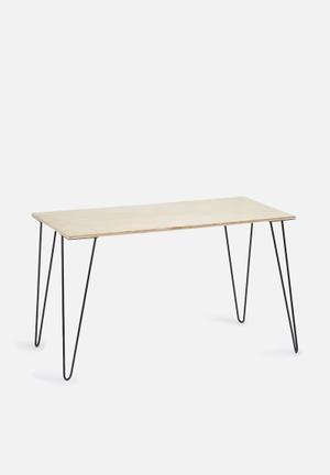 Sixth Floor Hairpin Desk Pine Ply & Metal Hairpin Legs