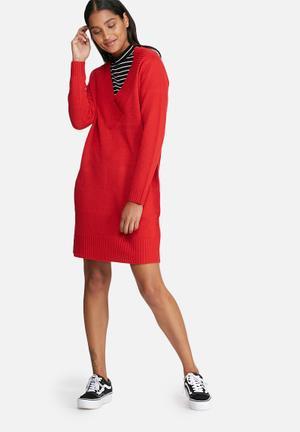 Jacqueline De Yong Ryder V-neck Dress Formal Red
