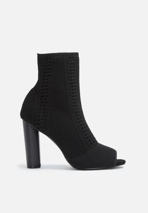 Dailyfriday Knitted Sock Peep Toe Bootie Black