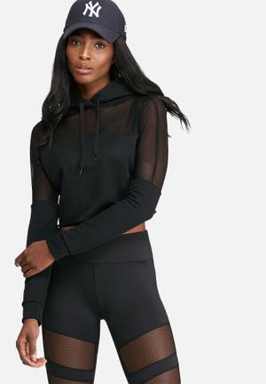 Missguided Active Mesh Panel Cropped Hoodie Hoodies & Jackets Black