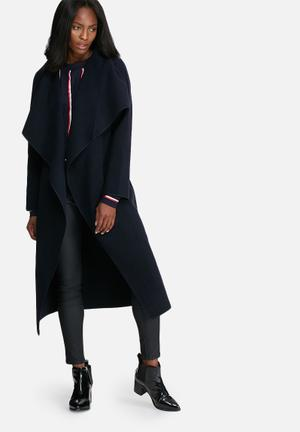 Missguided Oversized Waterfall Duster Coat Navy Blue