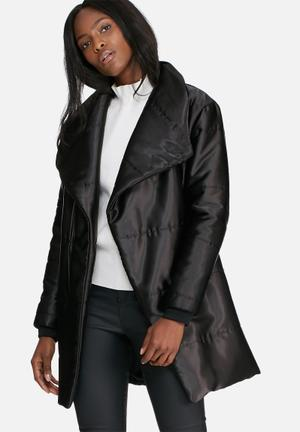 Dailyfriday Mid Length Belted Padded Jacket  Black