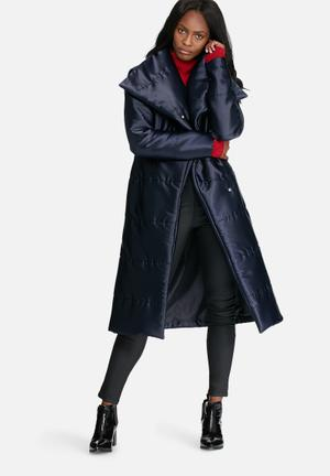 Longer length belted padded coat