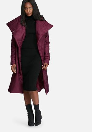 Dailyfriday Longer Length Belted Padded Coat Burgundy