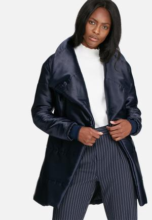 Dailyfriday Mid Length Belted Padded Jacket Navy